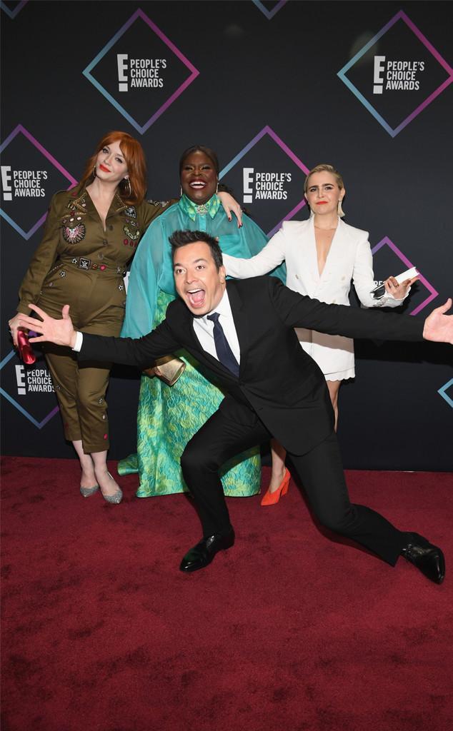 Christina Hendricks, Retta, Mae Whitman, Jimmy Fallon, 2018 Peoples Choice Awards, PCAs, Candids