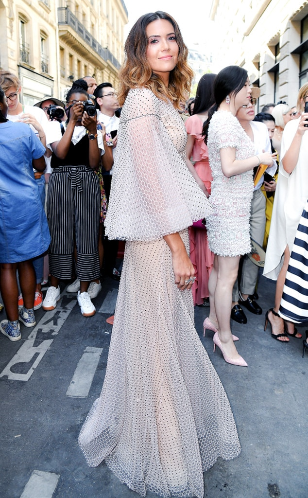Fabulous Flare -  The actress looks like a boho angel at the Ralph & Russo Haute Couture showin this elegantpolka-dot patterned gown that features flared sleeves.