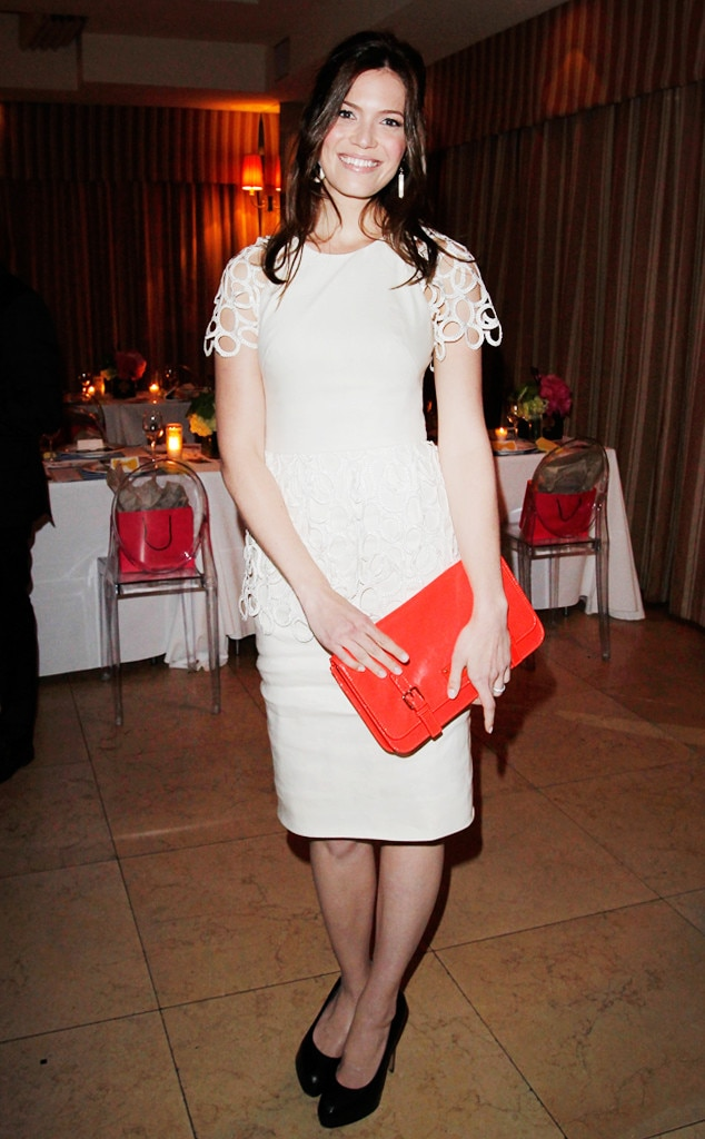 Peplum Perfection -  To celebrate Brad Goreski's book launch, the actress dressed to impress in a Lela Rose white-circle lace cream dress that featured a peplum-style top.