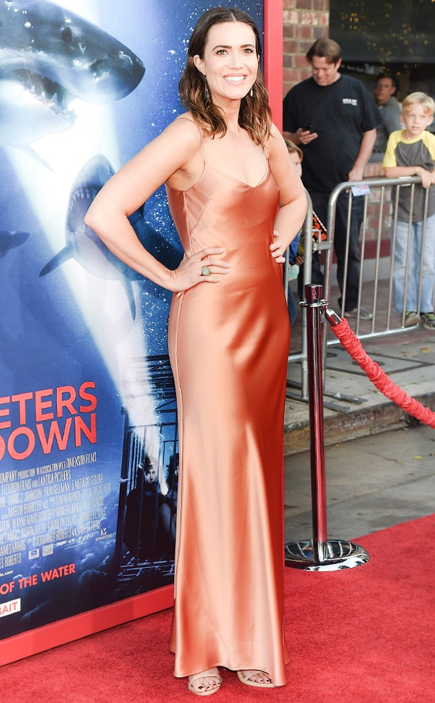 Satin Star -  If anyone can rock a satin slip dress on the red carpet, it's Ms. Moore. The actress glowed in this copper Galvan gown at the  47 Meters Down  premiere.