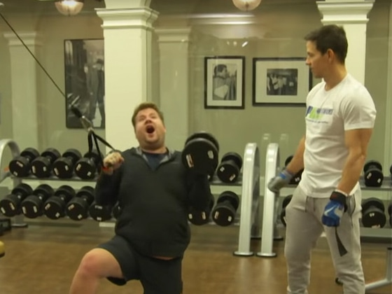 Watch James Corden Hilariously Struggle Through Mark Wahlberg's Morning Workout