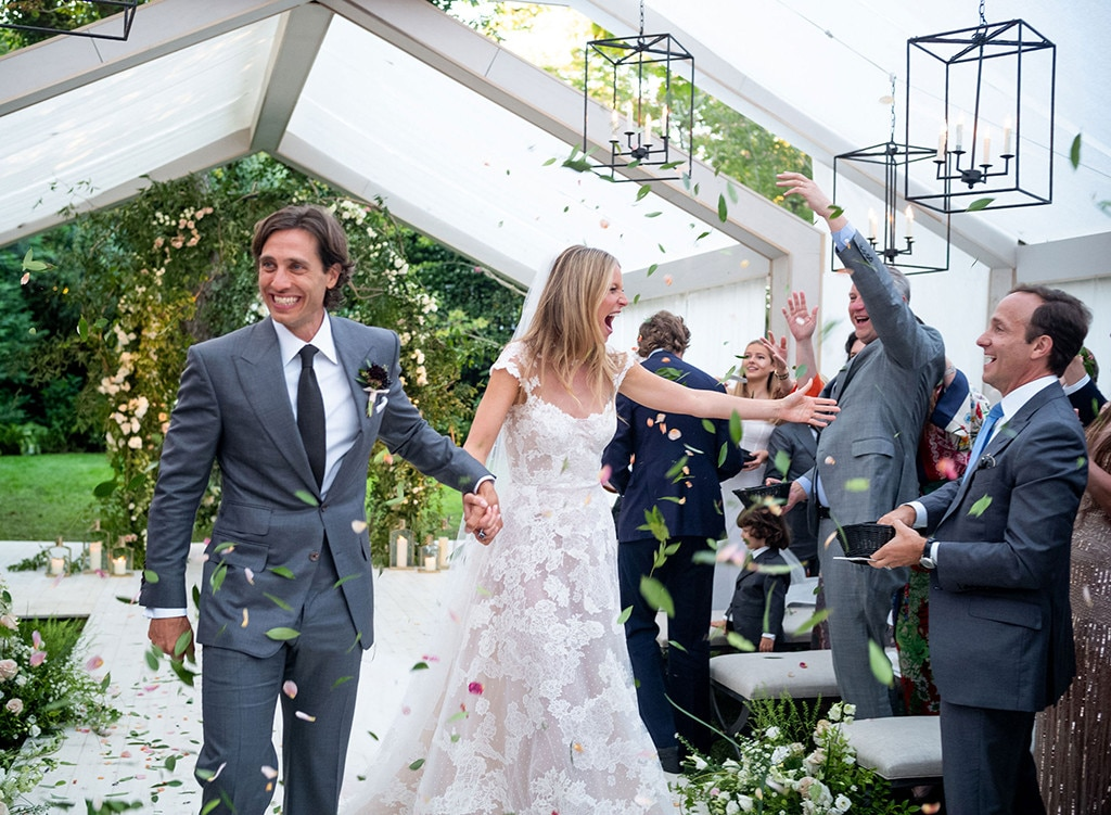 Gwyneth Paltrow -  The actress donned a  custom Valentino lace dress  for her wedding to Brad Falchuk in September.