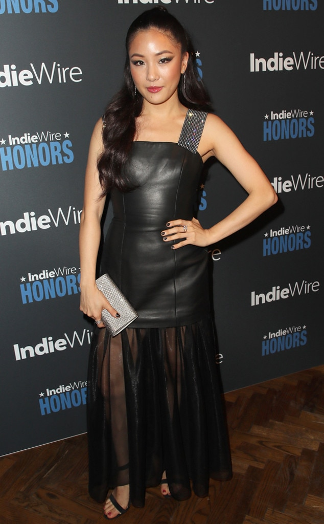 Silver & Leather - Crazy Rich Asians  actress,  Constance Wu  rocks a black leather and chiffon dress with glimmering silver accessories at the 2018IndieWire Honors in Los Angeles.