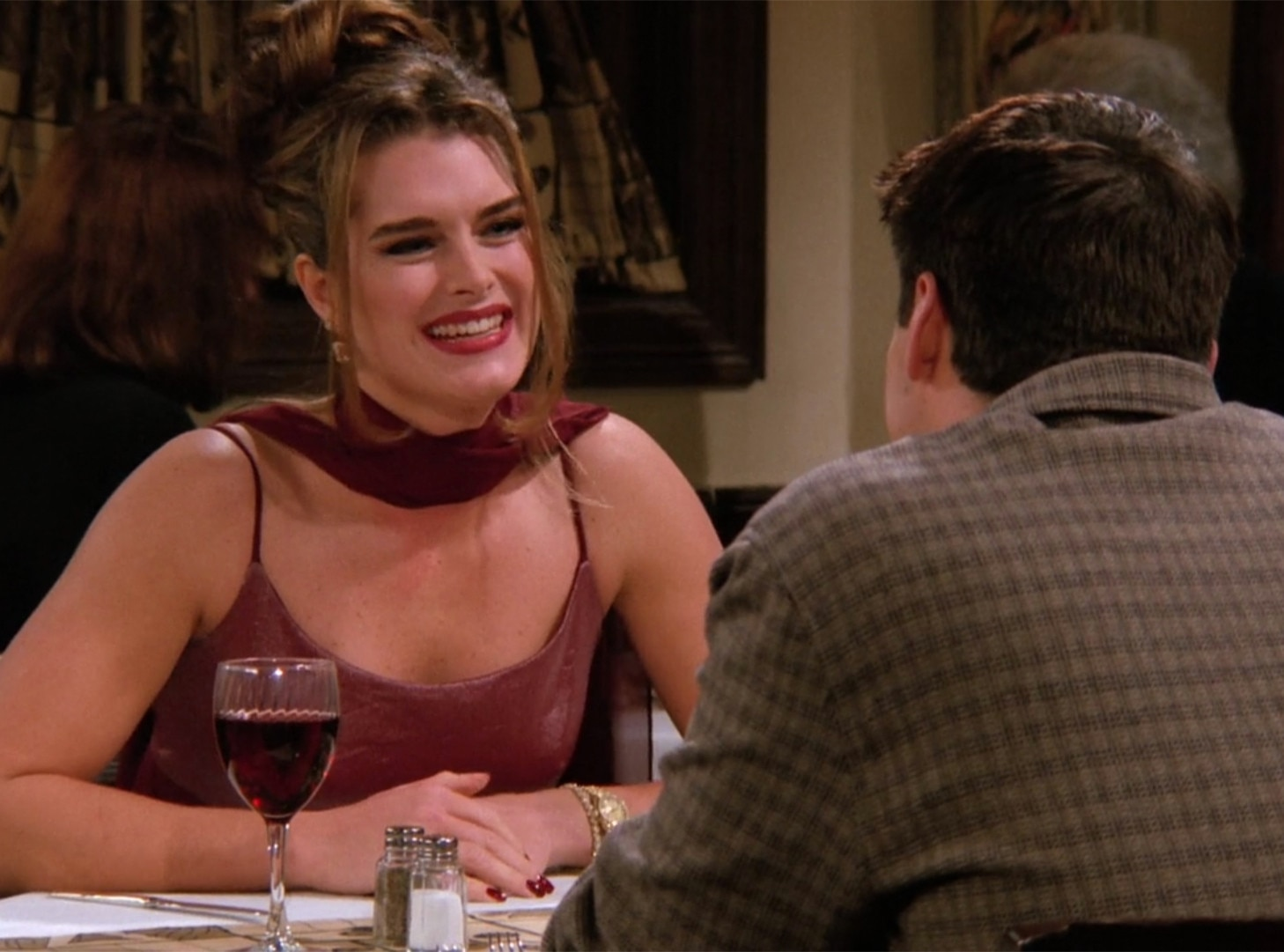 """Erica and Joey,  Friends  -    There are a lot of relationships from Friends we'd like to talk about (and in fact, we will), but Brooke Shields ' cameo as an obsessive Dr. Drake Ramoray fan (who Joey dated despite knowing she was a stalker and that she believed he was actually Drake Ramoray) caused some bonus real-life drama.In her 2014 memoir, Shields wrotethat real-life boyfriend Andre Agassi was so jealous aftershe licked Matt LeBlanc's handon the show that he went home and smashed all of his tennis trophies. Malcolm and Phoebe Remember when Phoebe started dating the guy who was stalking her identical twin sister(who was also Courtney Cox's then boyfriend, David Arquette)? She thought that if he started dating her, he might stop stalking Ursula, and surprise, he did not. Monica and Young Ethan Sorry, sorry, one more Friends one, just because we can't forget that time Monica accidentallydated and SLEPT WITHa 17 year-old in season one. She told him she was 22, he told her he was a """"senior,"""" and the whole thing was, as Monica correctly said, icky!"""