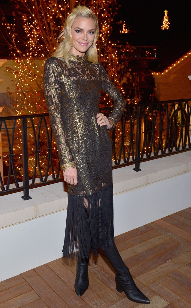Jaime King -  Jaime is a holiday dream in a sheer dress with a fringed hem and over-the-knee boots in celebration oftheRachel Zoe Resort Holiday Presentation.