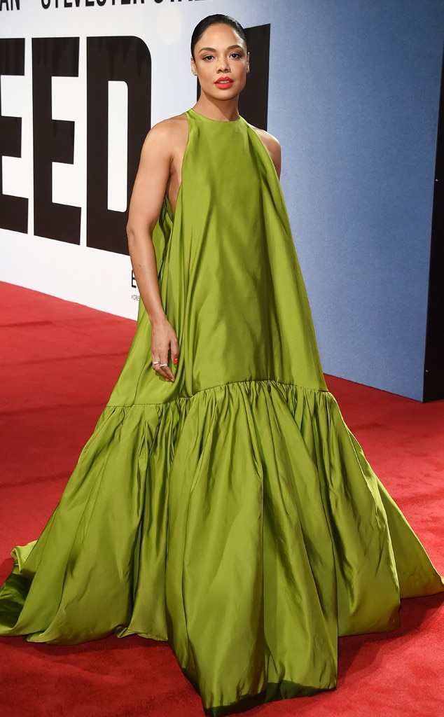 Tessa Thompson -  The  Creed II  star is stunning in a green Valentino gown with a sleek, long braid and red lipstick at the London premiere.