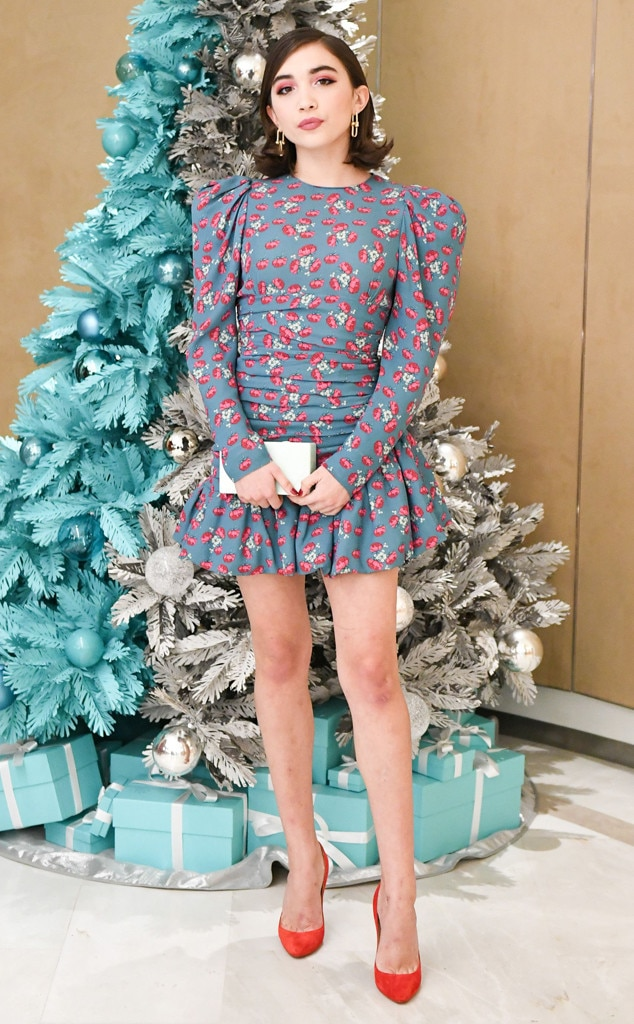 Rowan Blanchard -  The Disney star's long-sleeve mini dress and bright red pumps are the perfect picks in front of Tiffany & Co.'s Christmas tree.