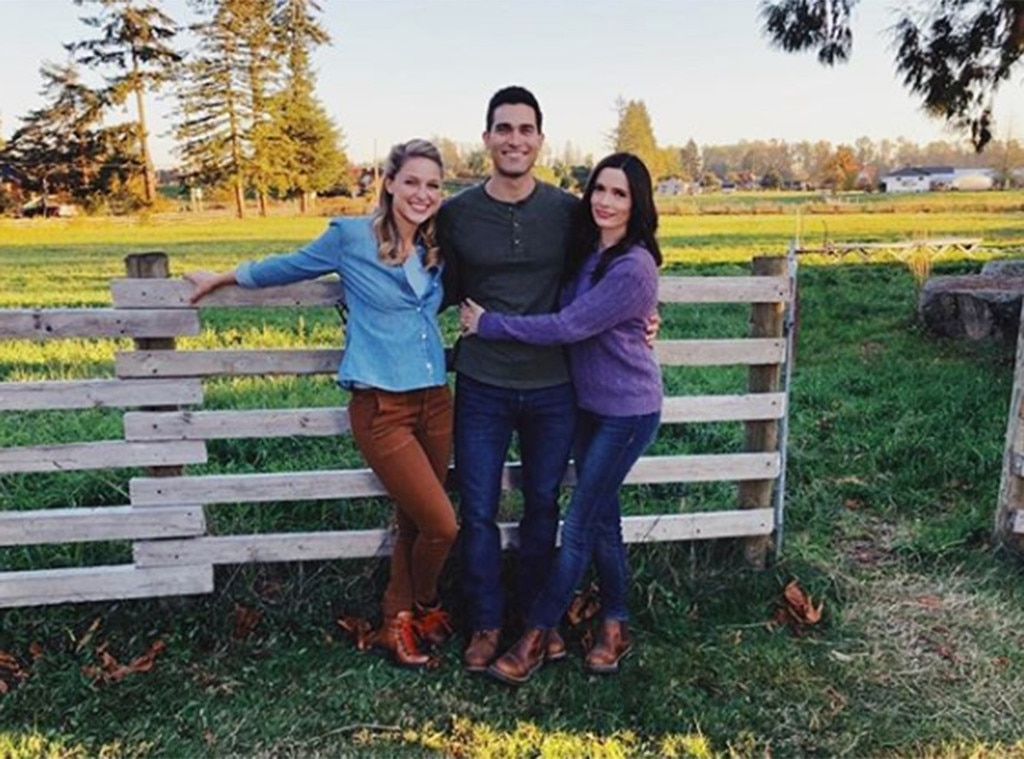 """Two Kryptonians and a Journalist -  Kara, her cousin Clark, and his girlfriend Lois got together for a family pic on the Kent family farm, which appears to be the same Kent family farm used in  Smallville, because there wasn't already enough going on in this explosion of superheroes.   """"Two kryptonians and a journalist walk into a crossover..."""""""