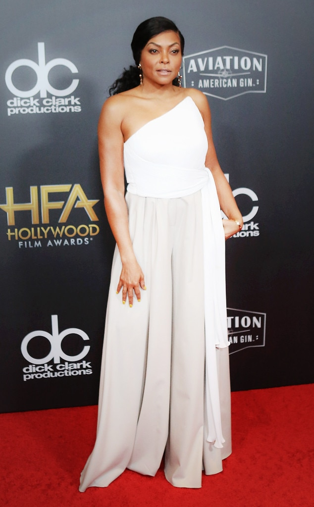 Taraji P. Henson -  For the 22nd Annual Hollywood Film Awards, the actress stunned on the red carpet in a one-shoulder white and grey gown.