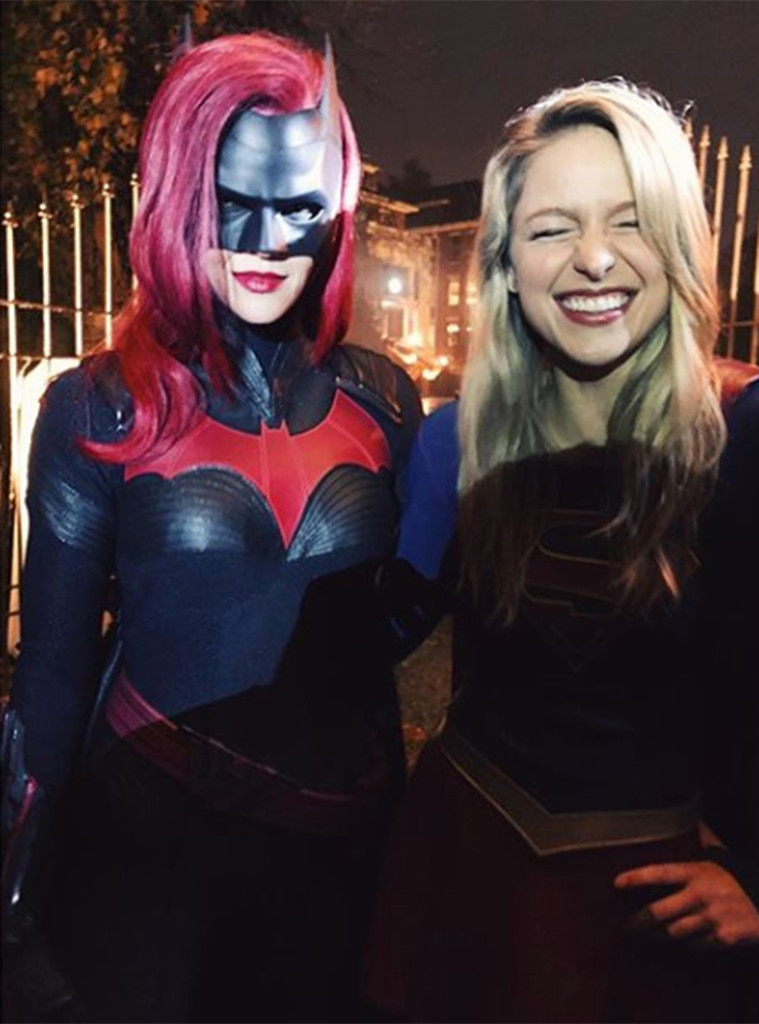 """No Smiling for Batwoman -  This is the photo that made us truly wonder if Ruby Rose can move her face in her mask, because how else could she resist matching Melissa Benoist's grin?   """"Indicative of my excitement that she's here and kicking ass,"""" Benoist said in her  Instagram post ."""