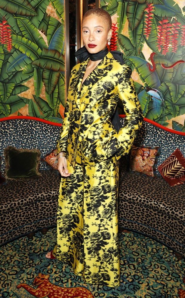 Adwoa Aboah -  The model stood out at the Fashion Awards 2018 nominees celebration in a bright yellow Erdem suit that featured a black floral print.