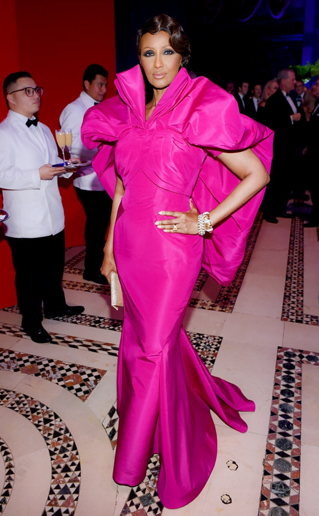 Iman -  The model made sure all eyes were on her in this hot pink haute couture gown with voluminous shoulder detailing at the Elton John AIDS Foundation's 17th Annual an Enduring Vision Benefit.