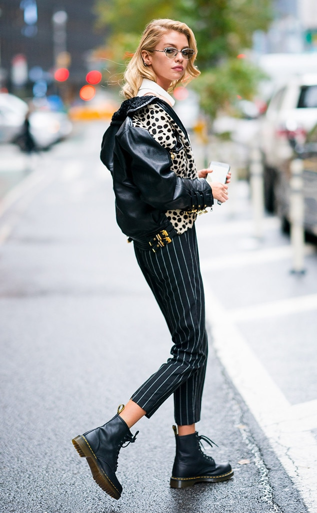 Stella Maxwell -  The model went for a chic rocker look on her way to her fitting in a pair of pinstriped pants, a dalmatian-print motorcycle jacket and Dr. Martin boots.