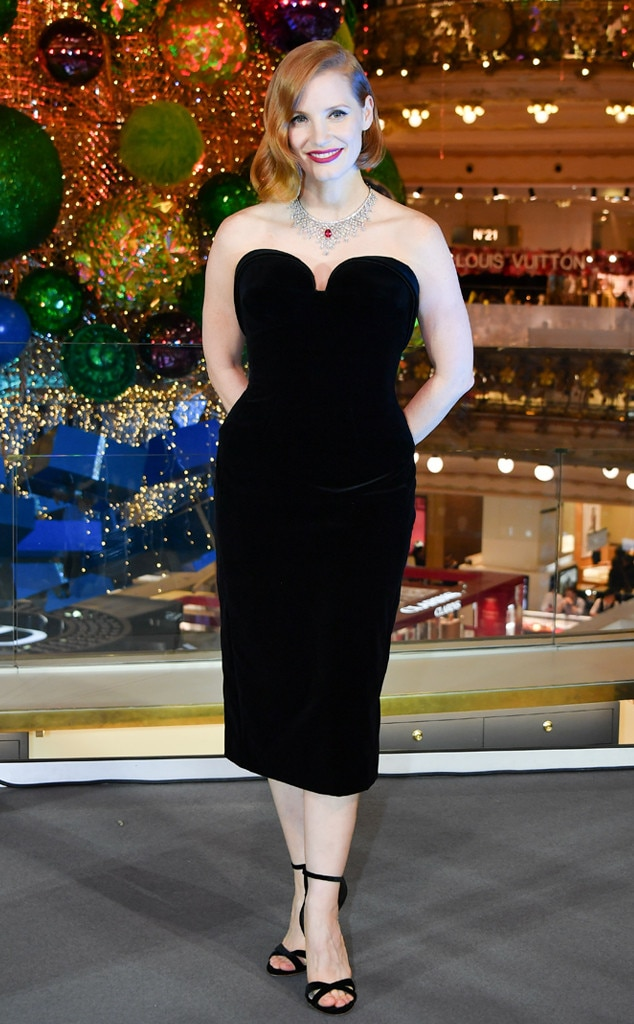 Jessica Chastain -  Jessica brought some Hollywood glamour to the Christmas decorations inauguration in Paris in this velvet Ulyana Sergeenko Demi-Couture dress.