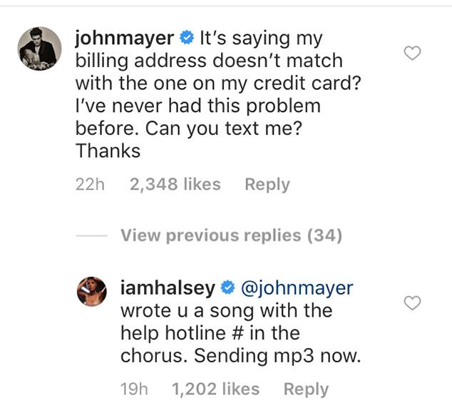 Halsey, John Mayer, Instagram