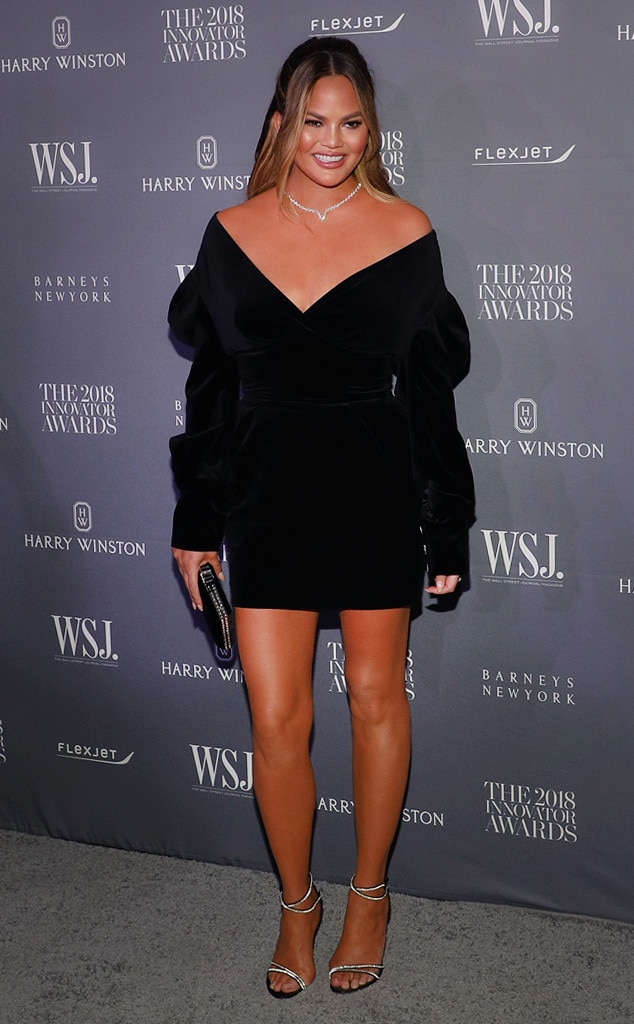 Chrissy Teigen -  The model dazzled at the 2018 WSJ Magazine Innovator Awards in a chic black velvet mini dress by Alexandre Vauthier.
