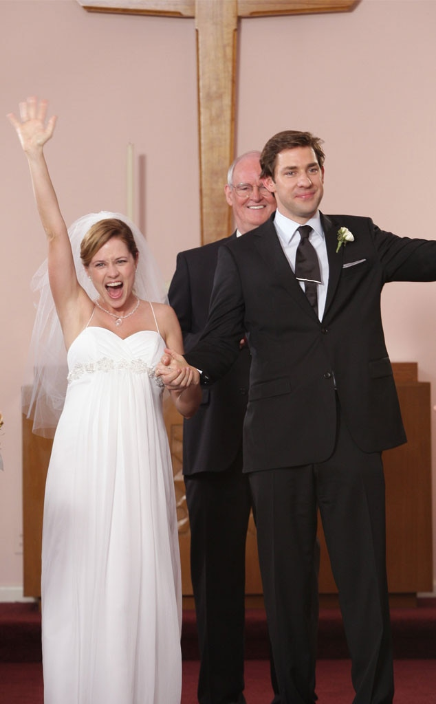 Jim and Pam,  The Office  -  We just want to remind you of the time that Jim admitted he bought the engagement ring a week after they started dating. A week!