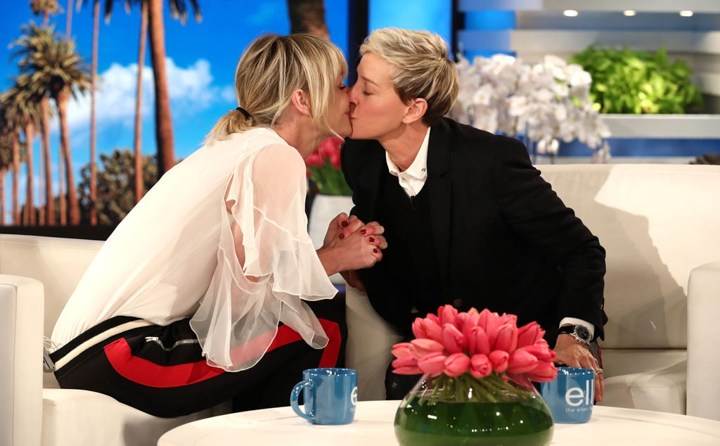 On-Set Kisses -  When the  Arrested Development  star stopped by her wife's talk show the two couldn't help but have a little smooch in between interviews.