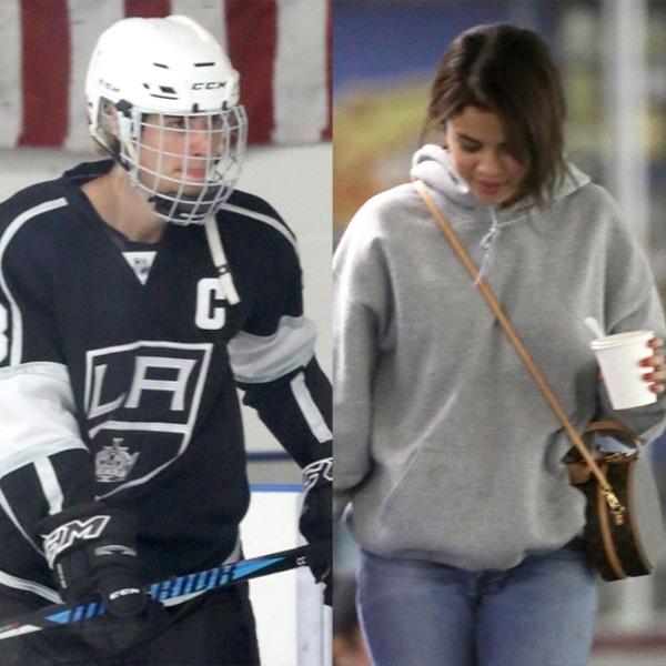 Selena Gomez, Justin Bieber, Hockey Game