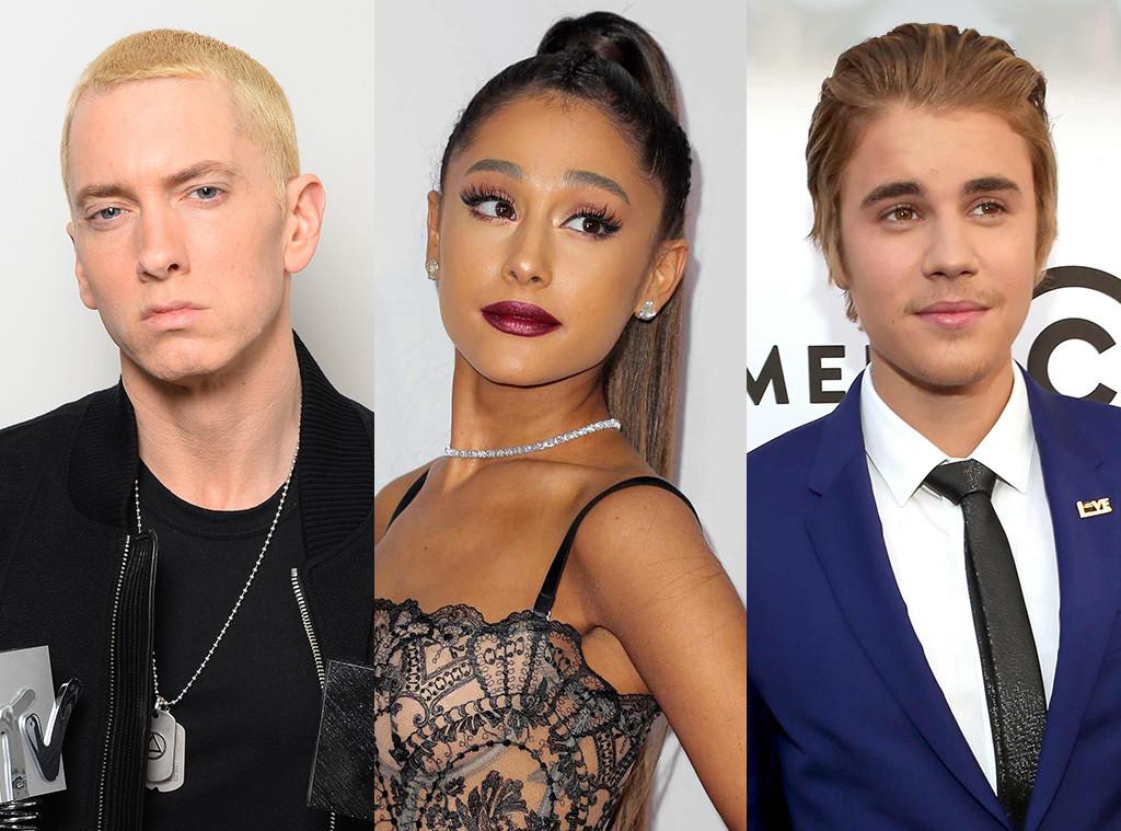 Eminem, Ariana Grande, Justin Bieber