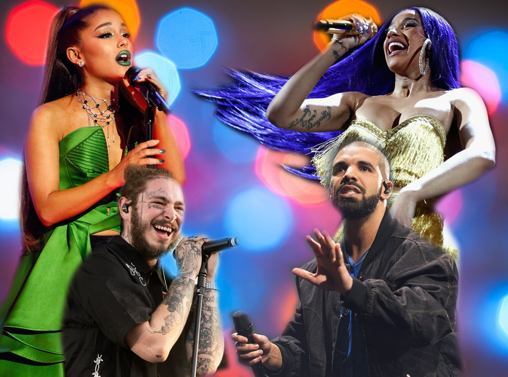 Drake, Ariana Grande, Post Malone, Cardi B