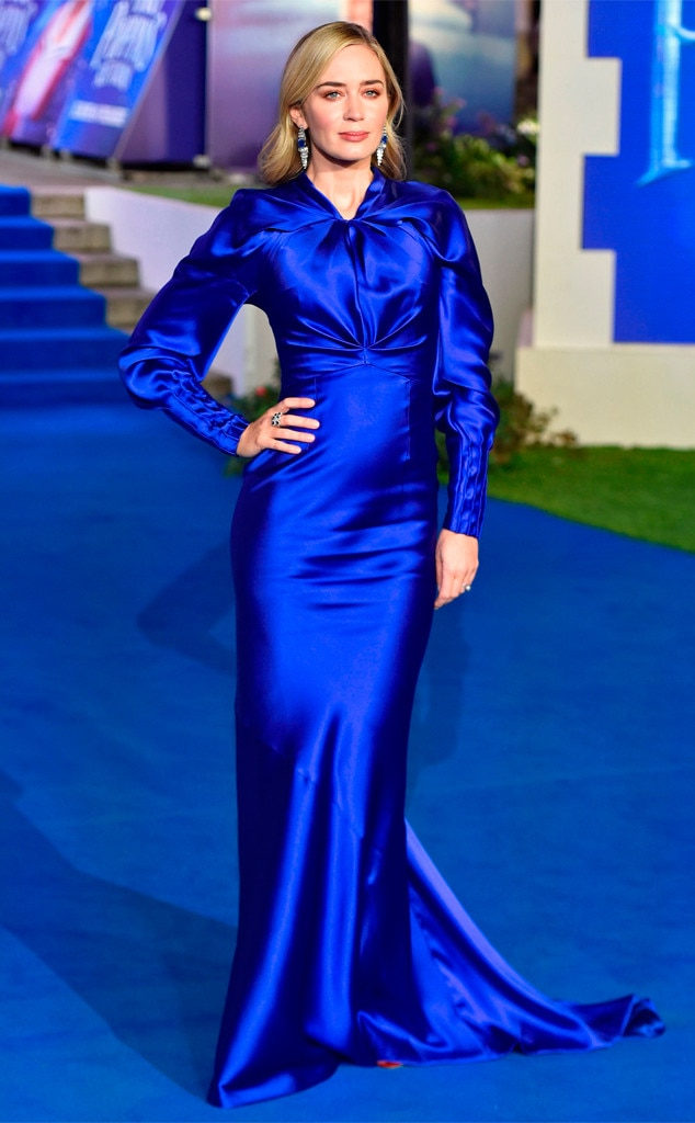 Singin' the Blues - Emily Blunt  looks  practically perfect  in a royal blue Schiaparelli gown at the premiere of  Mary Poppins Returns  in London.