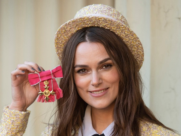 Keira Knightley Looks Posh in Chanel as She Receives Her OBE From Prince Charles