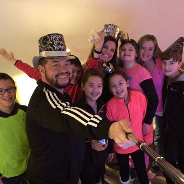"""Selfie Time -  """"Happy New Year!!! 2017!!! Let's do this!!!!"""" Jon wrote while ringing in2017 with four of his eight children including Aaden, Joel, Hannah and Leah."""
