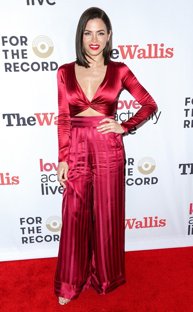 'Tis the Season! - Jenna Dewan  dons a festive, red satin jumpsuit to  support her boyfriend  at the opening night reception of  Love Actually Live  in Beverly Hills, Calif.