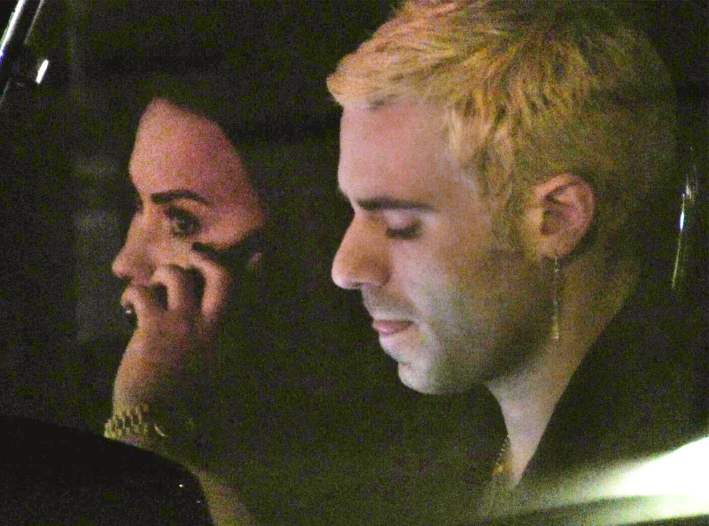 demi lovato and henry levy show some pda during nighttime stroll e