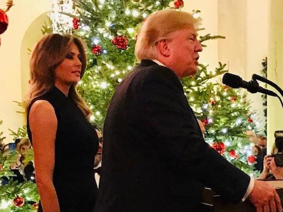Melania Trump Dons Sleeveless Dress for White House Christmas Party