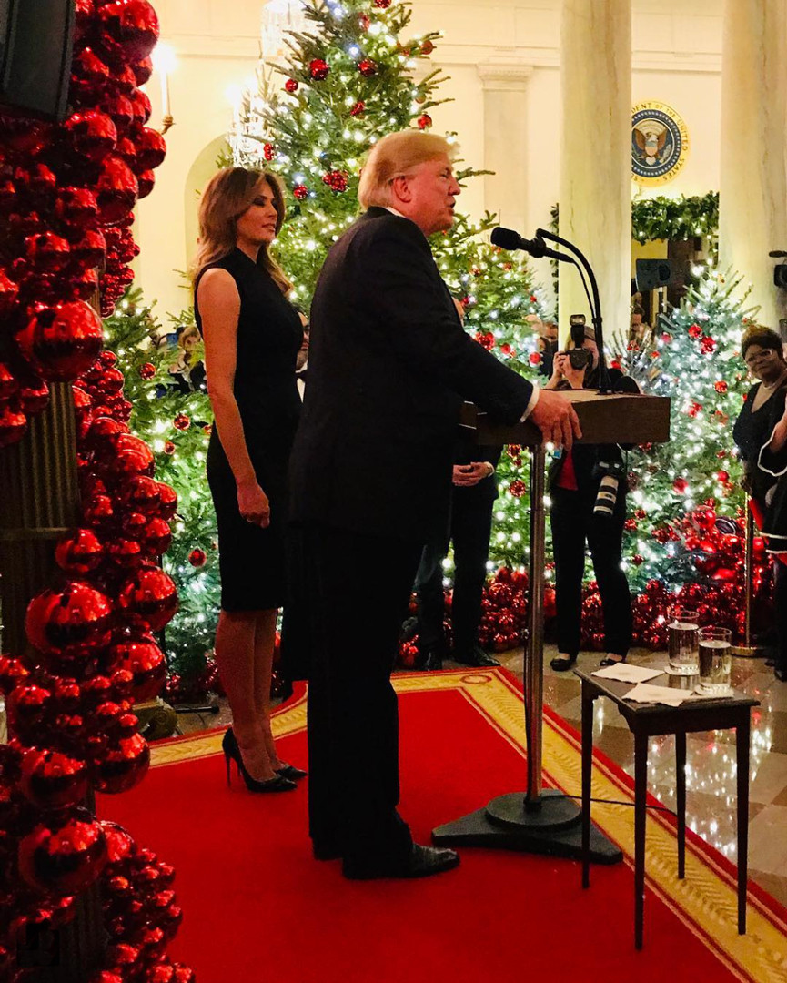 Melania Trump White House Christmas.Melania Trump Dons Sleeveless Dress For White House