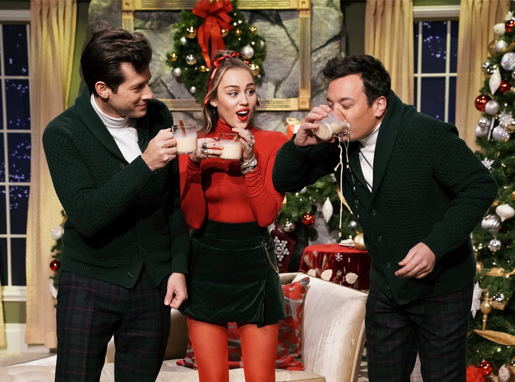 Marok Ronson, Miley Cyrus and Jimmy Fallon -  The trio were sipping on eggnog and having fun during Santa Baby while on  The Tonight Show starring Jimmy Fallon.