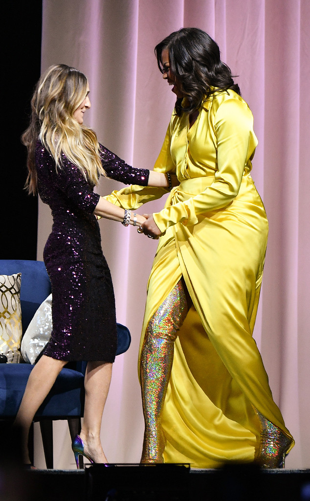 Michelle Obama Is Golden In 4 000 Thigh High Boots E News