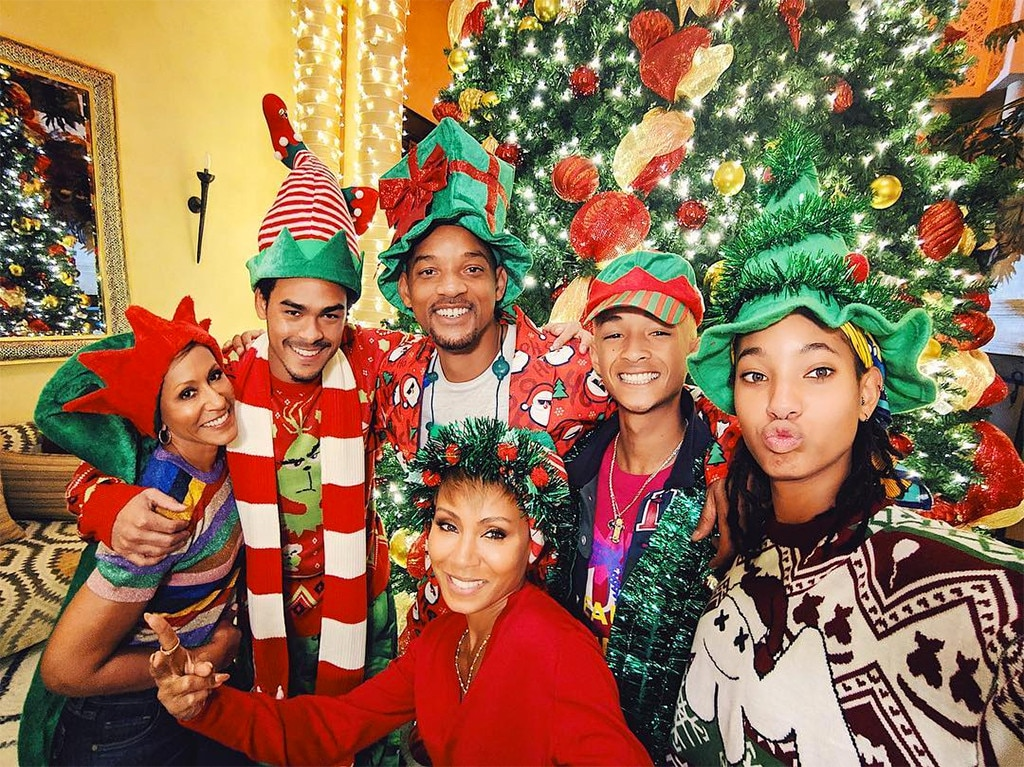 """Will Smith and Jada Pinkett Smith -  The two certainly got into the holiday spirit with her mom Adrienne Banfield-Norris  and kids Trey Smith , Willow Smith  and Jaden Smith . Will wrote on  Instagram , """"Jada LOOOOVES Christmas! I think she's finally Rubbin' Off on the rest of us. And this #Pixel3 got us lookin' all Caramel Creamy! Merry Christmas Eve, Everybody!"""""""