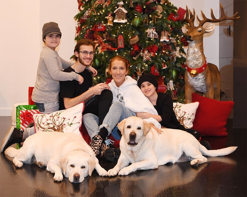 Celine Dion -  The singer posted this sweet photo of her with her sons, René-Charles , and twins Eddy  and  Nelson , and their dogs.