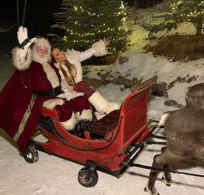 """Mariah Carey -  The """"All I Want For Christmas Is You"""" singer got festive with Santa Claus and his reindeer."""