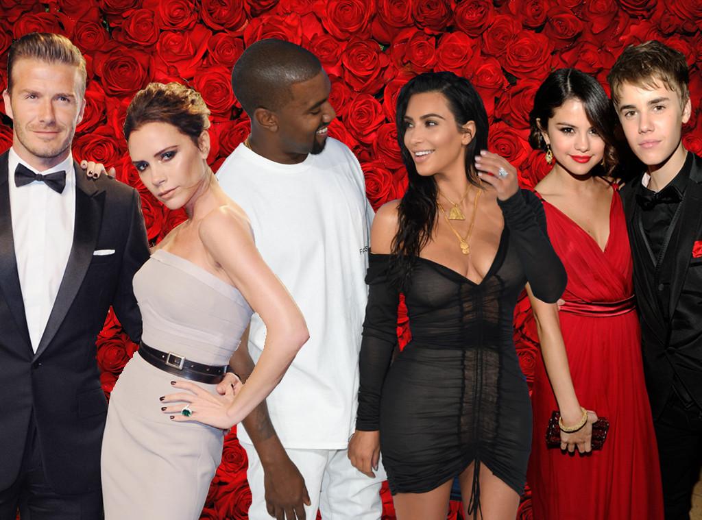Valentine's Day couples, Kim Kardashian, Kanye West, Justin Bieber, Selena Gomez