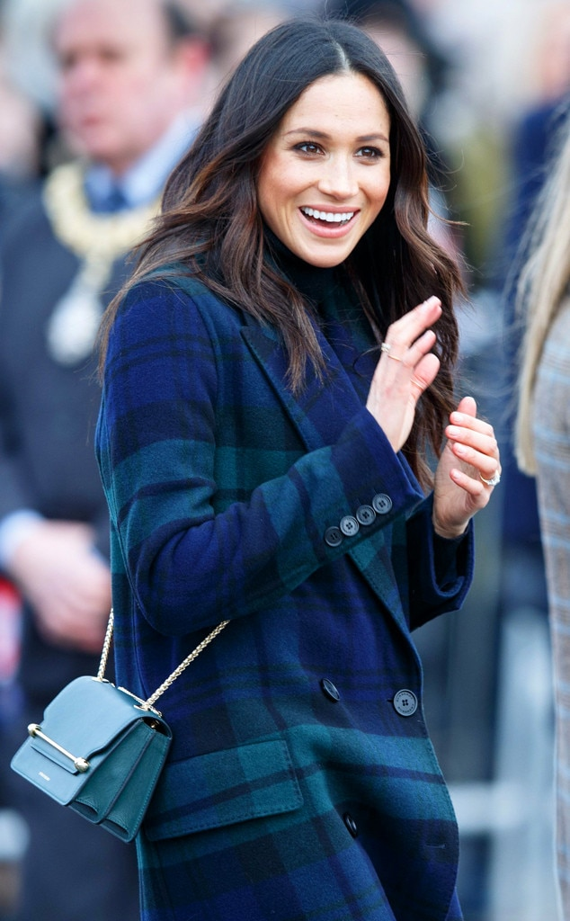 Purse Style -  In July 2018,  Meghan visited Edinburgh, Scotland wearing a cross-body bag , a style not typically worn by royals in a bid to avoid touching fans while greeting them.
