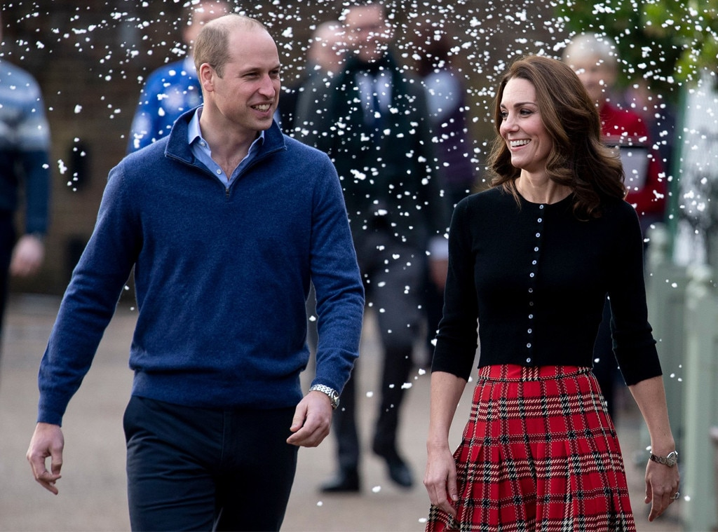 Kate Middleton Looks Festive in Plaid for Christmas Party With William