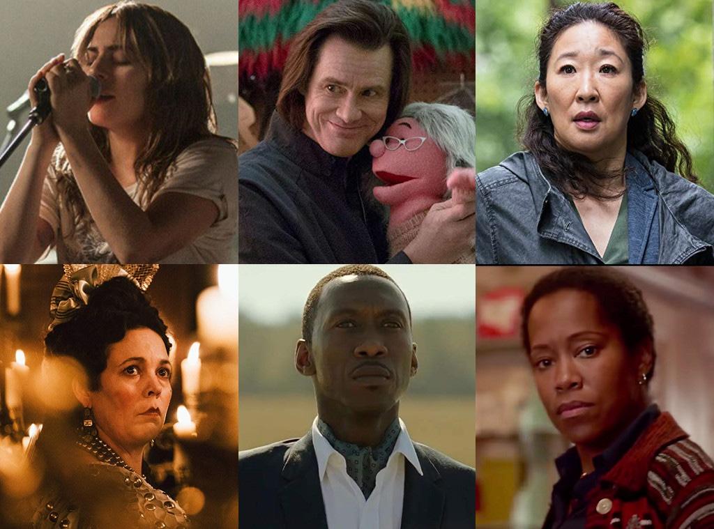 Lady Gaga, Jim Carrey, Sandra Oh, Olivia Colman, Mahershala Ali, Regina King