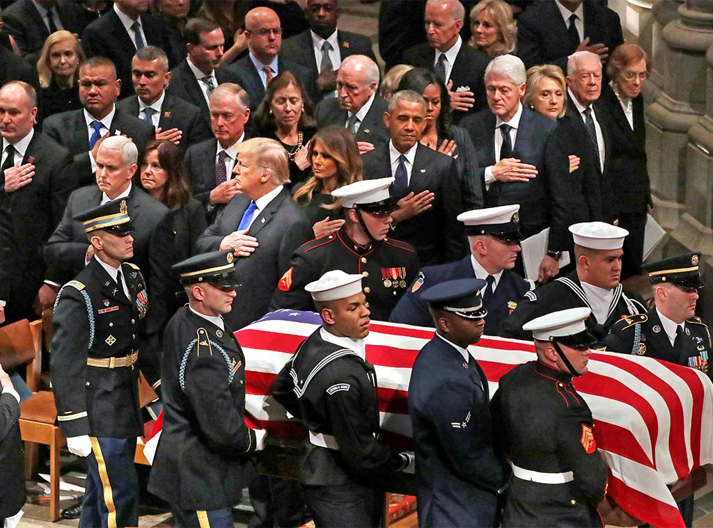 President George H.W. Bush, Donald Trump, Melania, Obamas, Clintons