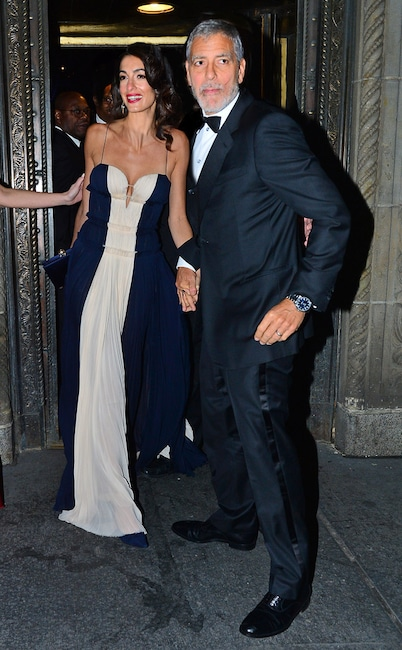 Amal Clooney Stuns in Sparkling Blue Gown on Date With