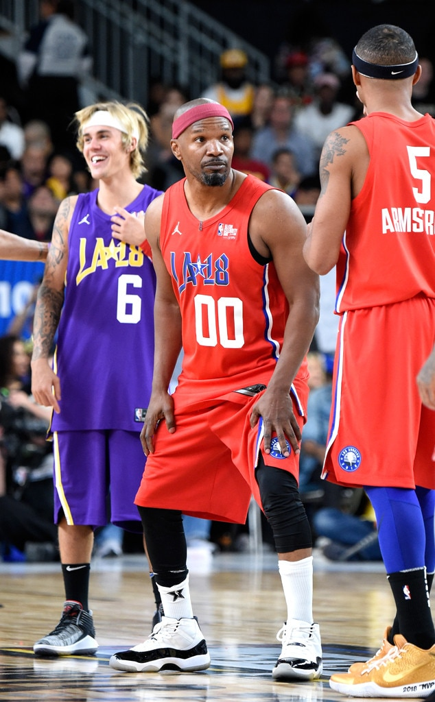 justin bieber and jamie foxx from nba celebrity all