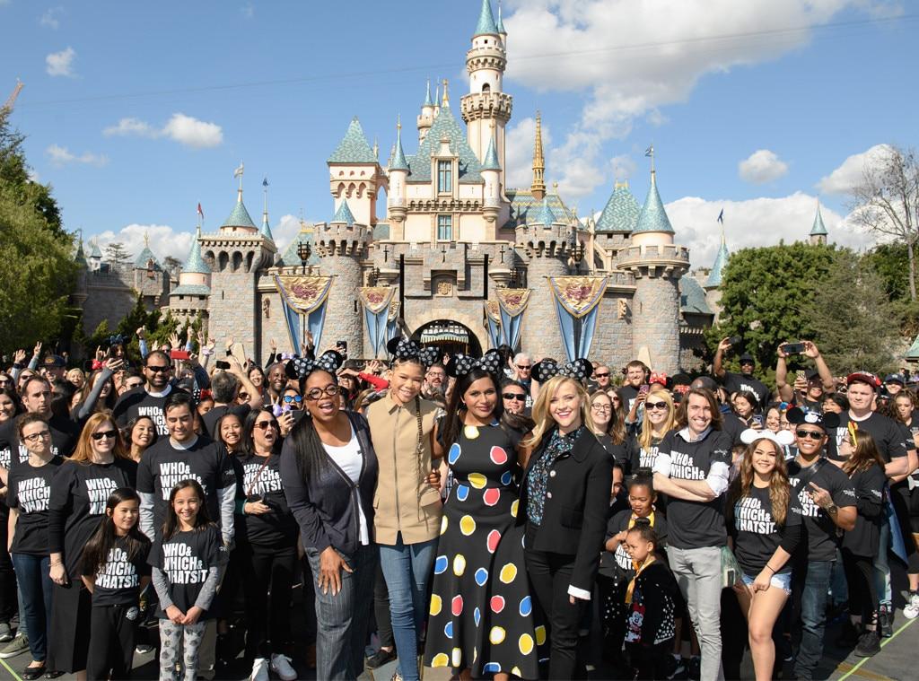 Mindy Kaling, Reese Witherspoon, Storm Reid, Oprah Winfrey, A Wrinkle in Time, Disneyland