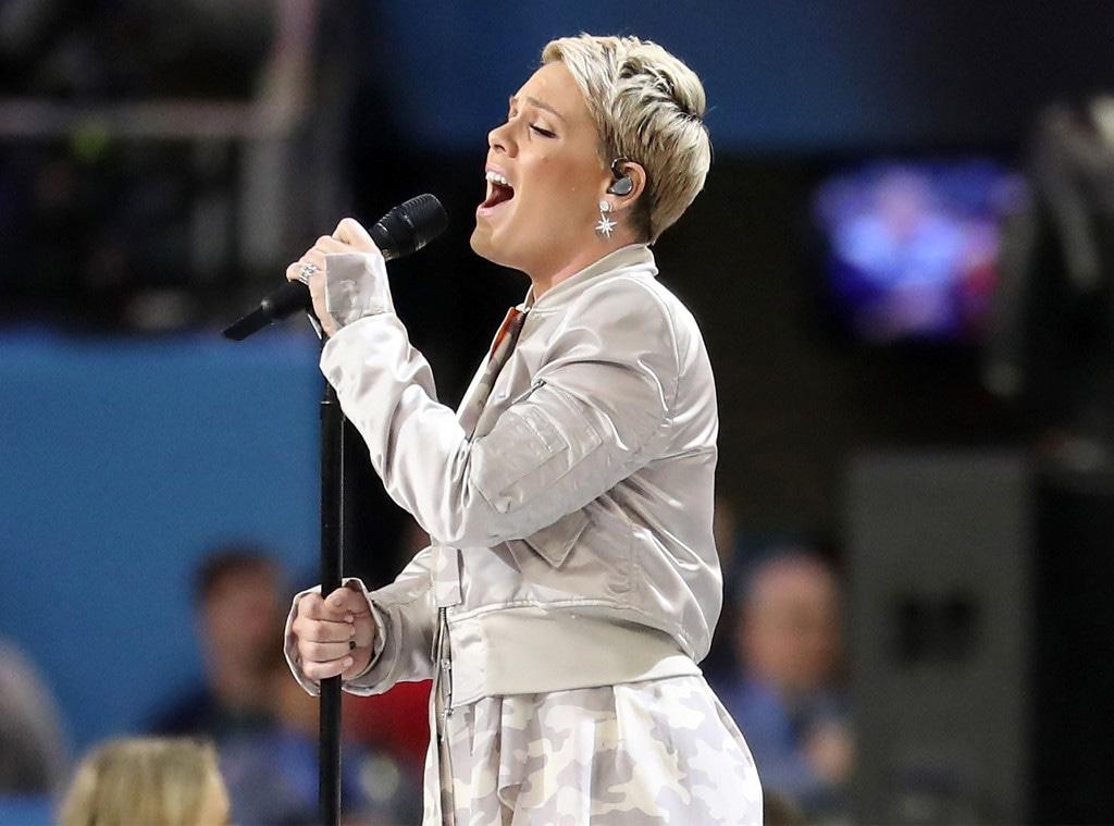 Pink, national anthem, Super Bowl LII, celebs