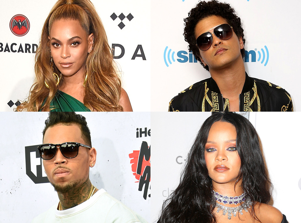Beyonce, Bruno Mars, Rihanna, Chris Brown