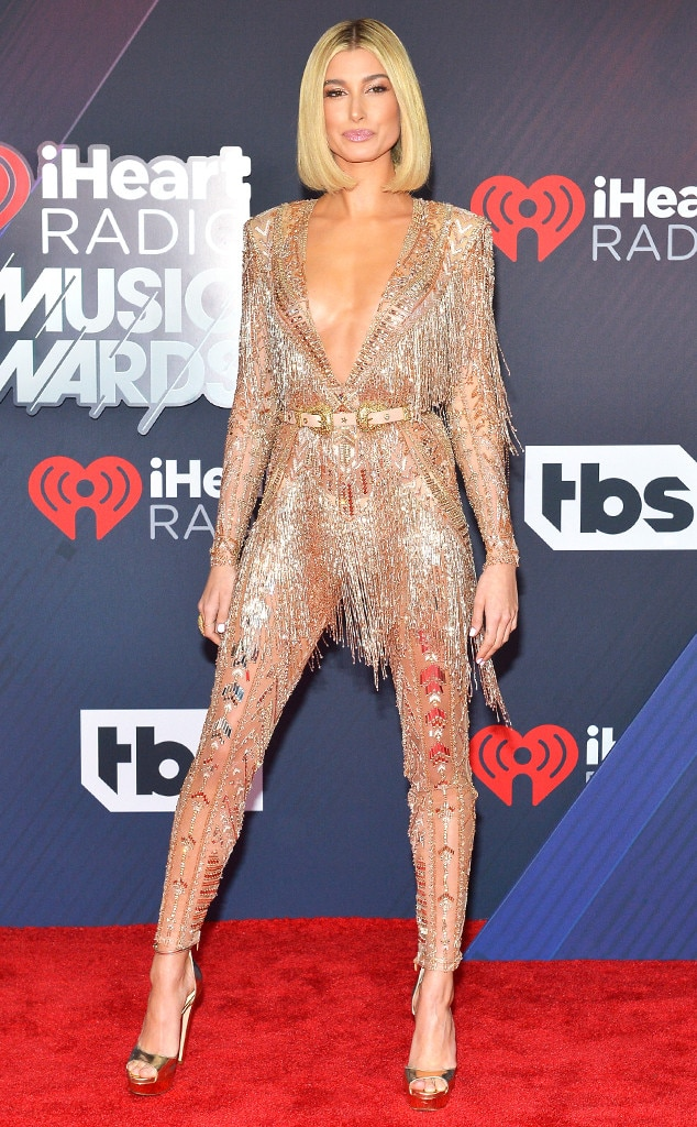 Hailey Baldwin -  The 22-year-old model brings the glitz and glam to the red carpet with her flashy Zuhair Murad jumpsuit.