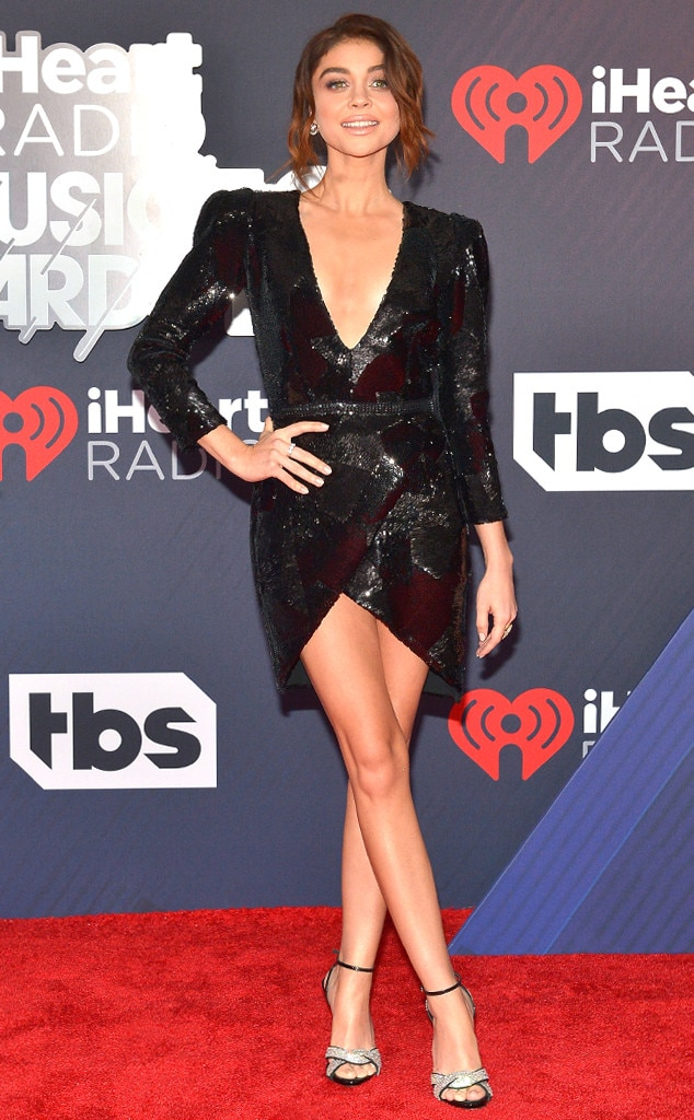 Sarah Hyland -  The  Modern Family  actress sizzles in a little black dress from Galia Lahav. The deep v-cut and sequins design make it more glam, and her silver bedazzled shoes are the icing on the cake.