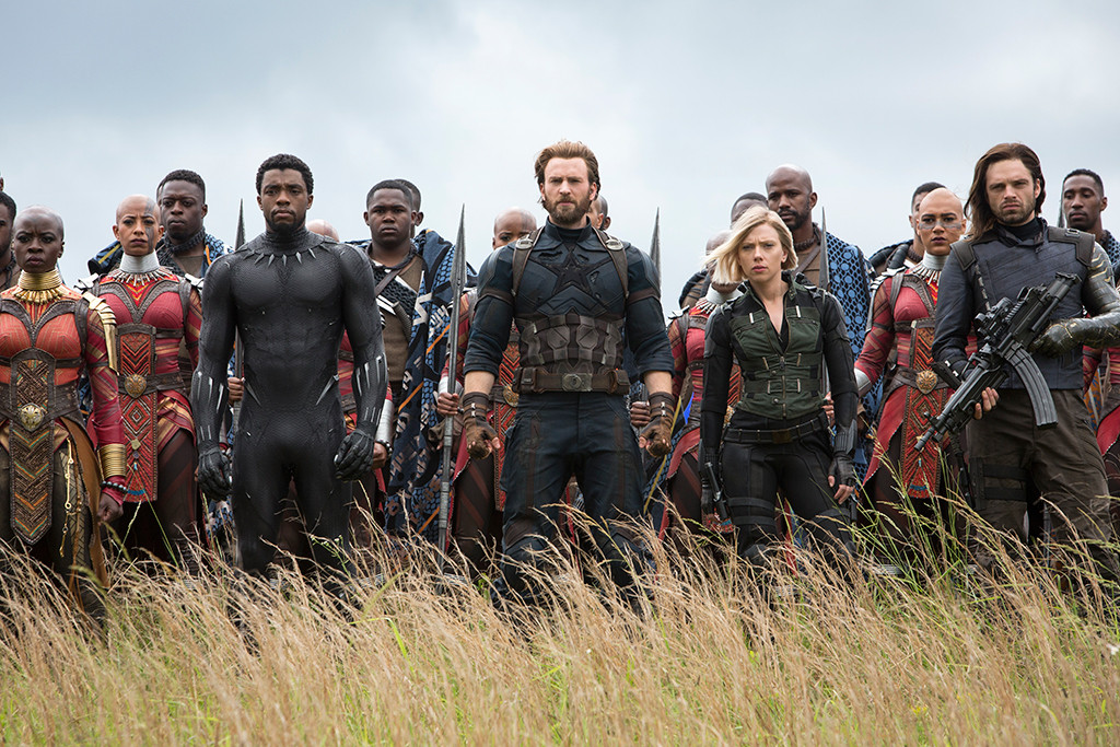 Avengers: Infinity War, Danai Gurira, Chadwick Boseman, Chris Evans, Scarlett Johansson, Sebastian Stan